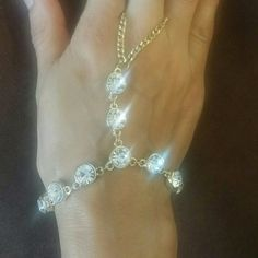 Finger bracelet. Slave Bracelet. Wedding. Honeymoo Gold and shinny crystals. Hand made bracelet. Linked to finger of your choice. It is perfect for honeymoon, bridal shower and birthdays. Jewelry Bracelets