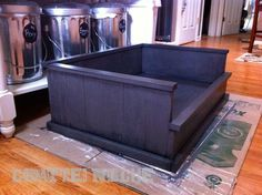 DIY dog bed - could make a nice whelping box, too. Change the front panel to a hinged drop down halfdoor. Great for medium/Big Dogs!