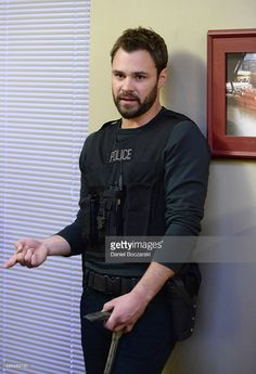 Actor Patrick John Flueger performs an on set demonstration of 'Chicago P.D.' during the press junket for NBC's 'Chicago Fire', 'Chicago P.D.' and 'Chicago Med' at Cinespace Chicago Film Studios on November 9, 2015 in Chicago, Illinois.