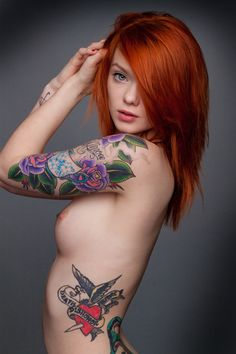 tattoo redhead babes naked