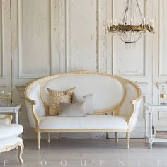 Eloquence Versailles Canape Sofa in Ivory Velvet and Gold Leaf