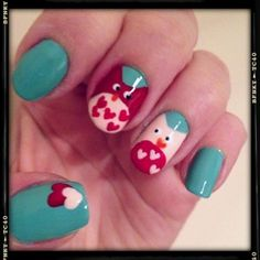 Love Owls Valentines Day nails