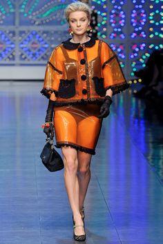 Jessica Stam in Dolce & Gabbana Spring 2012