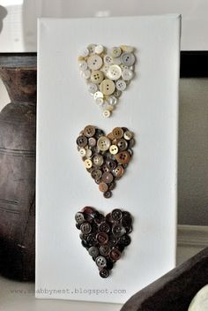 The Shabby Nest blog shares her Ombre three hearts in graduating tones of vintage buttons. #shabby_nest #buttons #hearts #ombre