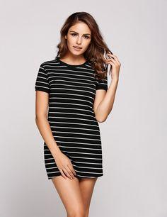 Black Striped O-Neck Short Sleeve Mini Pencil Dress