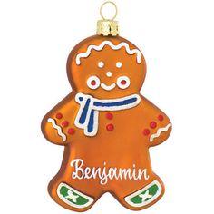 Personalized Gingerbread Boy Glass Ornament; Weihnachten in der Küche