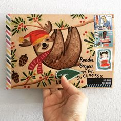Sloth painted onto Envelope.