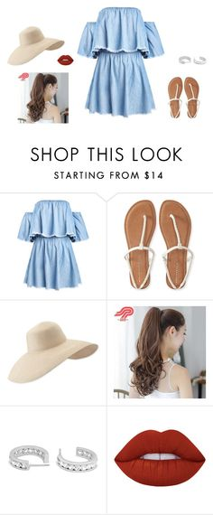 """""""Untitled #50"""" by sara-tadic-1 ❤ liked on Polyvore featuring Aéropostale, Eric Javits, Pin Show and Lime Crime"""