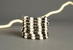 Black and White Multi Strand Beaded Bracelet  8 by AmphaiJewelry