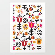Retro Scandinavian Flowers Pattern Art Print by Totallyjamie