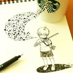 """""""Melody for autumn♬ すっかり秋#rakugaking #Starbucks """""""