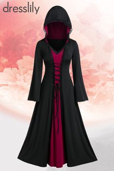 49% OFF Plus Size Hooded Maxi Two Tone Vintage Dress. #dresslily #dresses