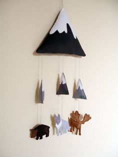 Rocky Mountains Felt Mobile with an added marmot. Baby Boy Rooms, Baby Boy Nurseries, Mobiles, Woodland Animals Theme, Nursery Themes, Nursery Banner, Felt Baby, Baby Makes, Nursery Inspiration