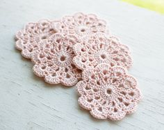 Set+of+5+crochet+flower+appliques+Pale+pink+Pastel+by+SvetlanaN,+$11.00