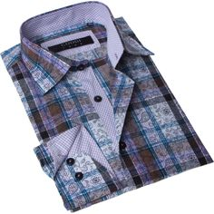 Brio Milano Men's Contemporary Fit and Blue Button-up Dress Shirt