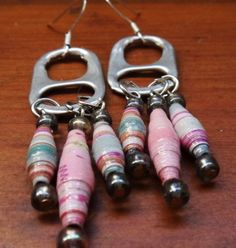recycled paper beads and pop tab earrings. I like the use of the tabs.