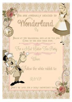 Alice In Wonderland Invitations, Alice In Wonderland Vintage, Alice In Wonderland Tea Party, Mad Hatter Party, Mad Hatter Tea, Mad Hatters, Princesa Sophia, Tea Party Invitations, Card Party