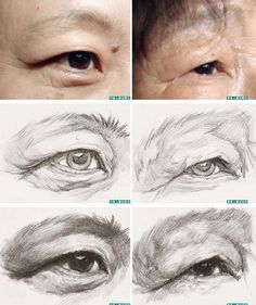 Old Asian eye Eye Drawing Tutorials, Drawing Techniques, Art Tutorials, Anatomy Sketches, Art Sketches, Art Drawings, Pencil Drawings, Human Anatomy Drawing, Drawing Heads