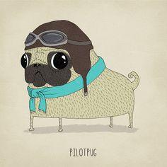 For Jonna? Art print limited edition pug illustration dog by agrapedesign