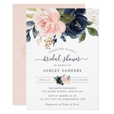 Floral Blush Navy Elegant Bridal Shower Invitation Navy Bridal Shower, Blush Bridal Showers, Elegant Bridal Shower, Bridal Shower Invitation Wording, Rehearsal Dinner Invitations, Elegant Wedding Invitations, Floral Invitation, Invitation Cards, Brunch Invitations