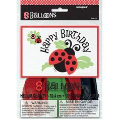 "12"" Ladybug Party Balloons, 8pk"