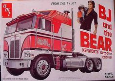 BJ and the Bear,Kenworth truck model scale. Vintage Models, Old Models, Vintage Toys, Classic Trucks, Classic Toys, Plastic Model Kits, Plastic Models, Model Truck Kits, Monogram Models