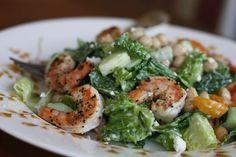 Mediterranean Caesar Salad with Lemon Pepper Shrimp and Garbanzo Beans