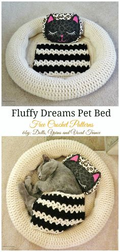 Collection of Easy Pet Bed Free Crochet Patterns: Crochet Round Dog/Cat Bed, Chunky Pet Bed, Pet Cushion Gift ideas Chat Crochet, Crochet Gratis, Crochet Home, Funny Crochet, Irish Crochet, Quick Crochet, Crochet Cat Pattern, Crochet Patterns, Free Pattern