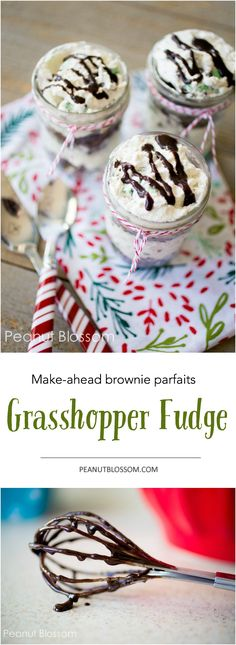 Only 3 ingredients! These delicious grasshopper fudge parfaits are so easy to make ahead and you can store them in even the most crowded of refrigerators during the busy holiday season.