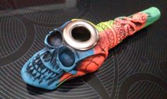 Neon Snake & Skull Tobacco Smoking Pipe Small Bowl w/ Metal Lip Glass Substitute