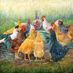 """June Dudley is the artist and called """"Happy Hour""""!  All the chickens are circled around the water bucket for a gab fest!  If you like this image, find out how you can own this for yourself.  Click on the pictures for more info!"""
