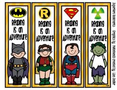 Super Kids Themed - Grade Level Bookmarks - 8 Designs from Superhero School Theme, School Themes, Superhero Characters, School Ideas, New Classroom, Classroom Themes, Library Themes, Cute Bookmarks, Reading Themes