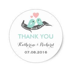 Blue Pink Grey Teal Pretty Hearts Romantic Love Birds Wedding Favor Sticker Labels  #wedding