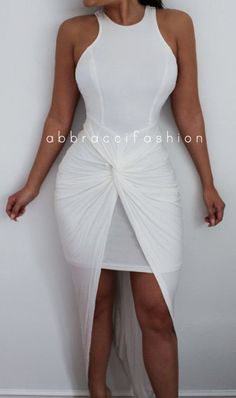 092771c313 White Twisted Knotted Bodycon Dress Maxi Asymmetrical Sexy
