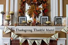 Give Thanks Thanksgiving Mantel - Oh My Creative
