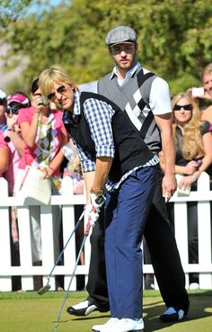 Ellen Degeneres with Justin Timberlake during the Pro-Am of the JT Shriners Hospitals for Children Open
