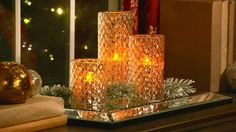 Enjoy the elegant glow of Illuminated Mercury Glass. H203389  Many colors to choose from. Battery operated and runs on a timer function. http://qvc.co/VPH-CIJ