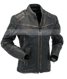 Mens Vintage Biker Style Motorcycle Cafe Racer Distressed Leather Jacket #SJLeather #Motorcycle