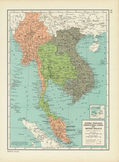 Vintage Thailand Map Southeast Asia Malaysia by vintagemapshop1