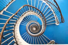 Spiral and Geometric Staircases Shot From Above