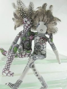 Meet Flora and Fiona Featherhead--zentangle dolls on etsy