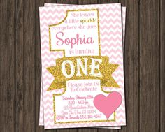 First Birthday Invitation  Pink and Gold 1st by PuggyPrints