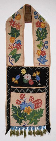 "Late 19th century Ojibway (First Nations) Bandolier bag at the Philadelphia Museum of Art, Philadelphia - From the curators' comments: ""The beaded bags were made by women but typically worn by men for ceremonial occasions. Although sometimes used as bags, they were more important as symbols of wealth and status and were highly valued when trading with other tribes."""