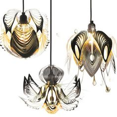 etched metal exotic bloom-shaped lamp shades. Future Flora by Artecnica #light #design