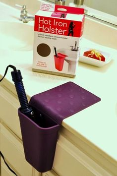 Hot Iron Holster - holds curling irons, flat irons, or blow dryers and sticks to virtually any hard surface without using Orr leaving any sticky residue. Also, it's heat resistant up to 500 degrees so you can use it while your iron warms up, between sectioning, during cool off, and for storage.