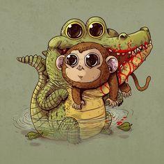 """Predator-vs-Prey"" By Alex 弱肉強食 Cute illustration Cute Animal Illustration, Cute Animal Drawings, Drawing Animals, Cute Animal Videos, Cute Animal Pictures, Predator, Prints Whatsapp, Alex Solis, Toile Photo"