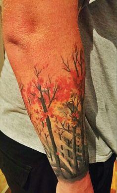 Autumn forest at dawn | tattoo by Liz Rob