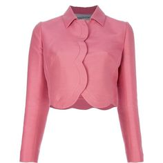 VALENTINO cropped scalloped trim jacket ($1,540) ❤ liked on Polyvore featuring outerwear, jackets, tops, blazers, coats, long sleeve crop jacket, pink jacket, long sleeve jacket, cropped jacket and valentino jacket