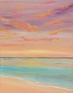 Original Beach Painting by Alla Al | Abstract Art on Canvas | Lilac sunset Original Oil Painting