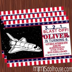 http://mimisdollhouse.com/product/space-shuttle-invitation/  Space Shuttle Invitation  The Space Shuttle invitation is personalized to include Name, Age, Date, Time, Location, and RSVP.  The Space Shuttle invitation is available in printable JPED and PDF formats.  A coordinating decorations package is available for this theme: http://mimisdollhouse.com/product/space-shuttle-party-printable-collection/  #SpaceShuttle #Space #SpaceShuttleInvitation #SpaceShuttleParty #BirthdayParty